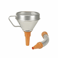 Metal Funnel with flexible metal spout and filter 160mm Opening, 300mm Spout